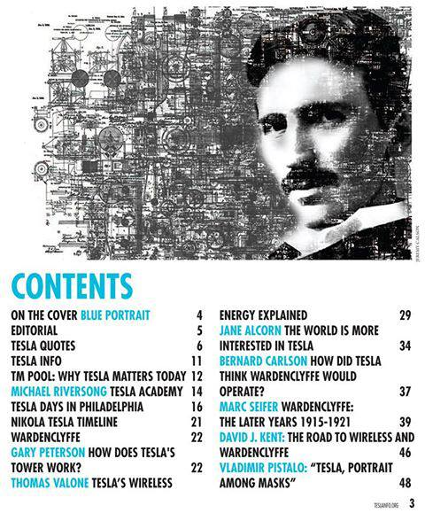 Tesla Magazine TOC, first issue July 2013