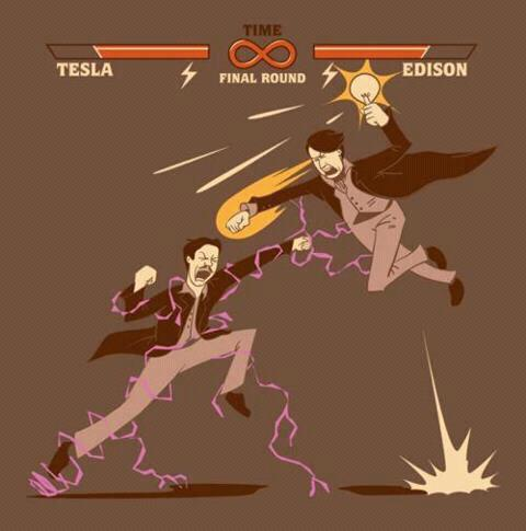 Tesla vs Edison cartoon