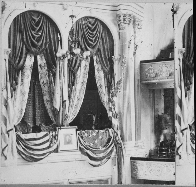 Ford's Theatre decorated for President Lincoln's attendance April 14, 1865